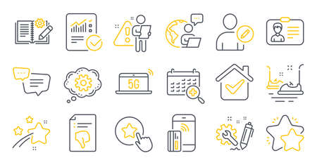 Set of Technology icons, such as Contactless payment, Text message, Engineering symbols. Bumper cars, 5g notebook, Identification card signs. Cogwheel, Checked calculation, Star. Edit user. Vector