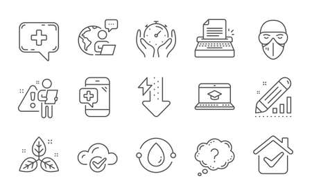 Timer, Cloud computing and Fair trade line icons set. Question mark, Medical phone and Edit statistics signs. Typewriter, Energy drops and Cold-pressed oil symbols. Line icons set. Vector