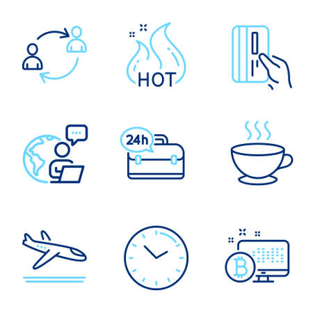 Business icons set. Included icon as Time, Coffee cup, Arrivals plane signs. User communication, Hot sale, 24h service symbols. Bitcoin system, Payment card line icons. Clock, Hot drink. Vector