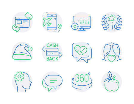 Business icons set. Included icon as 360 degrees, Text message, Santa hat signs. Cashback card, Engineering, Ranking symbols. Refresh website, Medical drugs, Seo. Flight destination. Vector