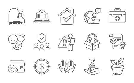 Smile, Buying accessory and Cogwheel line icons set. First aid, Leaves and Piano signs. Coffee, Delivery service and Time hourglass symbols. Line icons set. Vector