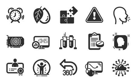 Cough, Certificate and Chemistry beaker icons simple set. Report statistics, Head and Time management signs. Recovered person, Medical prescription and Computer mouse symbols. Flat icons set. Vector