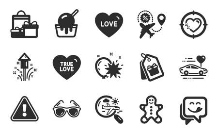 Honeymoon travel, Search flight and True love icons simple set. Shopping, Coupons and Sunglasses signs. Yummy smile, Heart target and Ice cream symbols. Fireworks, Flight sale and Love. Vector