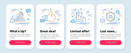 Set of Technology icons, such as Swipe up, Like, Roller coaster symbols. Mobile app mockup banners. Reject protection line icons. Scrolling screen, Thumbs up, Attraction park. No security. Vector Illustration
