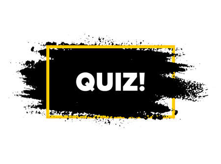 Quiz symbol. Paint brush stroke in frame. Answer question sign. Examination test. Paint brush ink splash banner. Quiz badge shape. Grunge black  banner. Paintbrush frame. Vector Ilustrace
