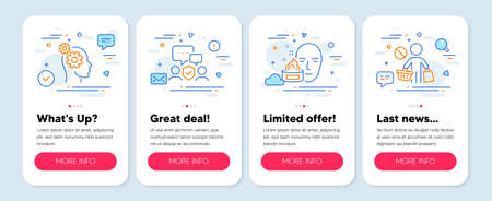 Set of People icons, such as Face cream, Security agency, Thoughts symbols. Mobile app mockup banners. Stop shopping line icons. Gel, Body guard, Business work. No buying. Face cream icons. Vector