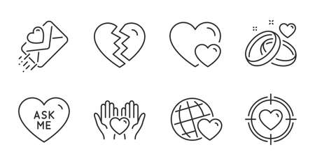 Ask me, Marriage rings and Love letter line icons set. Hearts, Break up and Valentine target signs. Hold heart, Friends world symbols. Love sweetheart, Engagement, Heart. Love set. Vector Illusztráció