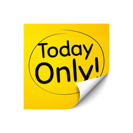 Today only sale symbol. Sticker note with offer message. Special offer sign. Best price. Yellow sticker banner. Today only badge shape. Post note. Adhesive offer paper sheet. Vector