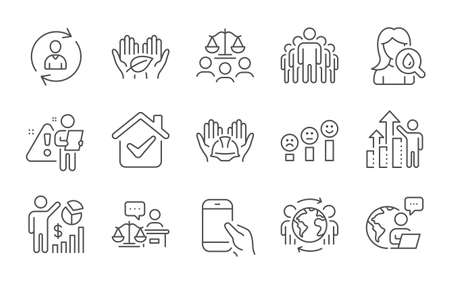 Fair trade, Person info and Seo statistics line icons set. Builders union, Employee results and Court jury signs. Court judge, Group and Moisturizing cream symbols. Line icons set. Vector