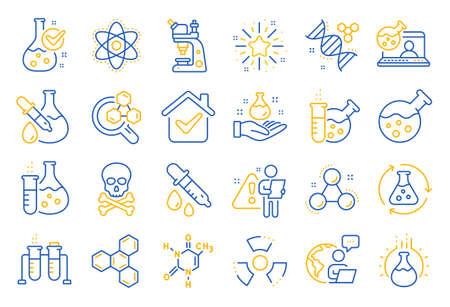 Chemistry lab line icons. Chemical formula, Microscope and Medical analysis. Laboratory test flask, reaction tube, chemistry lab icons. Microscopic research, toxic radiation. Line icon set. Vector