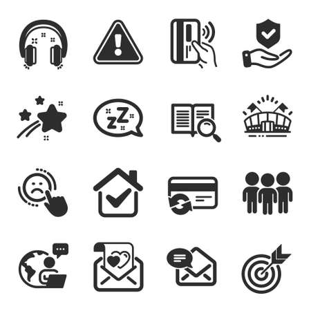 Set of Business icons, such as Dislike, Insurance hand, Headphones symbols. New mail, Group, Contactless payment signs. Sleep, Search text, Target. Sports arena, Change card, Love letter. Vector