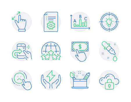 Technology icons set. Included icon as Technical documentation, Safe energy, Payment click signs. Chemistry pipette, Creativity concept, Touchscreen gesture symbols. Share call, Dislike. Vector