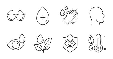 Oil serum, Eyeglasses and Thermometer line icons set. Eye drops, Eye protection and Washing hands signs. Head, Plants watering symbols. Cosmetic care, Optometry, Grow plant. Healthcare set. Vector