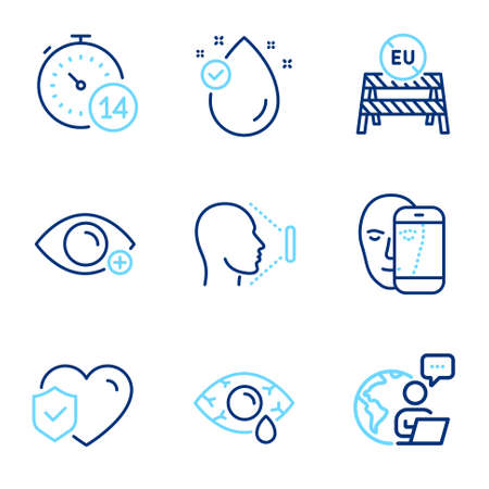 Medical icons set. Included icon as Vitamin e, Life insurance, Quarantine signs. Farsightedness, Ð¡onjunctivitis eye, Face id symbols. Face biometrics, Eu close borders line icons. Vector
