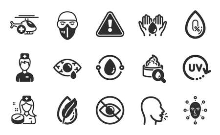 Cough, Nurse and Medical helicopter icons simple set. Cold-pressed oil, Hypoallergenic tested and Moisturizing cream signs. Uv protection, Medical mask and Face biometrics symbols. Vector