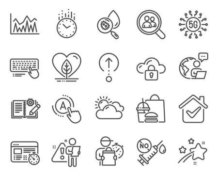 Science icons set. Included icon as Computer keyboard, Investment, Coronavirus vaccine signs. Time, Swipe up, Web timer symbols. Local grown, Water analysis, Search employees. Ab testing. Vector