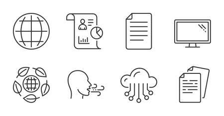 File, Breathing exercise and Eco organic line icons set. Report, Documents and Cloud storage signs. Globe, Monitor symbols. Paper page, Breath, Bio ingredients. Science set. Quality line icons. Vector 矢量图像