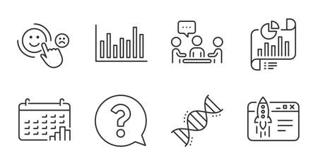 Question mark, Calendar graph and Start business line icons set. Bar diagram, Customer satisfaction and People chatting signs. Report document, Chemistry dna symbols. Quality line icons. Vector Ilustrace