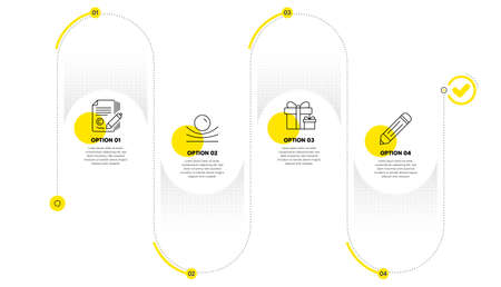 Surprise package, Elastic material and Copywriting line icons set. Timeline process infograph. Pencil sign. Present boxes, Resilience, Ð¡opyright signature. Edit data. Business set. Vector