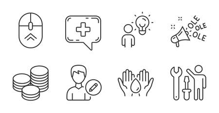Ole chant, Tips and Medical chat line icons set. Repairman, Safe water and Swipe up signs. Group people, Edit person symbols. Megaphone, Cash coins, Medicine help. Business set. Vector