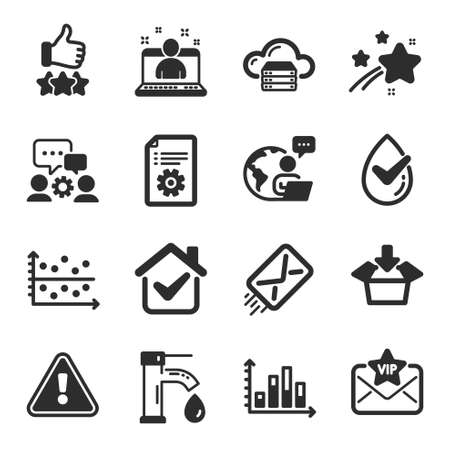 Set of Technology icons, such as Rating stars, Technical documentation, Dermatologically tested symbols. Diagram graph, E-mail, Get box signs. Vip mail, Engineering team, Cloud server. Vector