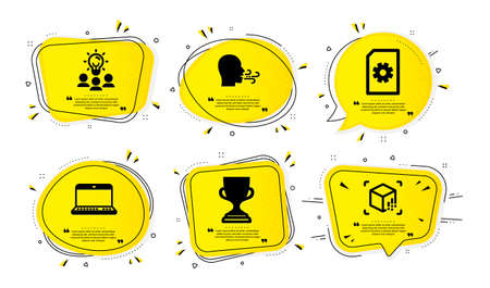 Award cup, File management and Notebook icons simple set. Yellow speech bubbles with dotwork effect. Business idea, Breathing exercise and Augmented reality signs. Vector