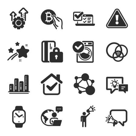 Set of Technology icons, such as Euler diagram, Online survey, Idea lamp symbols. Megaphone, Washing machine, Blocked card signs. Seo gear, Brand ambassador, Integrity. Smartwatch. Vector