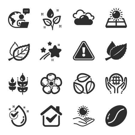 Set of Nature icons, such as Coffee beans, Water drop, Cloudy weather symbols. Mint leaves, Plants watering, Sun protection signs. Organic tested, Leaf, Gluten free. Natural linen, Leaves. Vector 矢量图像