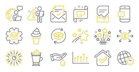 Set of Business icons, such as Corrupted file, Approved mail, Return parcel symbols. Artificial intelligence, Time zone, Wash hands signs. Architectural plan, Latte coffee, Dollar exchange. Vector