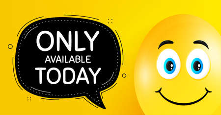 Only available today. Easter egg with smile face. Special offer price sign. Advertising discounts symbol. Easter smile character. Only available today black speech bubble. Vector