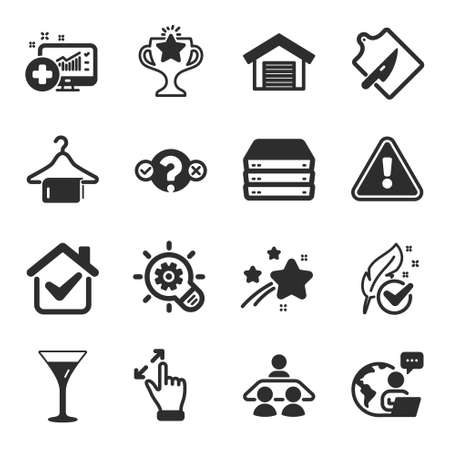 Set of Business icons, such as Parking garage, Victory, Touchscreen gesture symbols. Quiz test, Martini glass, Hypoallergenic tested signs. Cogwheel, Clean towel, Medical analytics. Vector