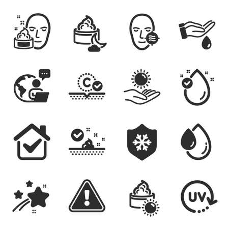 Set of Beauty icons, such as Skin care, Wash hands, Uv protection symbols. Sun protection, Sun cream, Collagen skin signs. Night cream, Vitamin e, Oil drop flat icons. Flat icons set. Vector