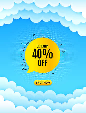 Get 40% off bubble banner. Cloud sky background with offer message. Discount sticker shape. Sale badge icon. Best advertising coupon cloud banner. Sale bubble badge shape. Blue sky background. Vector