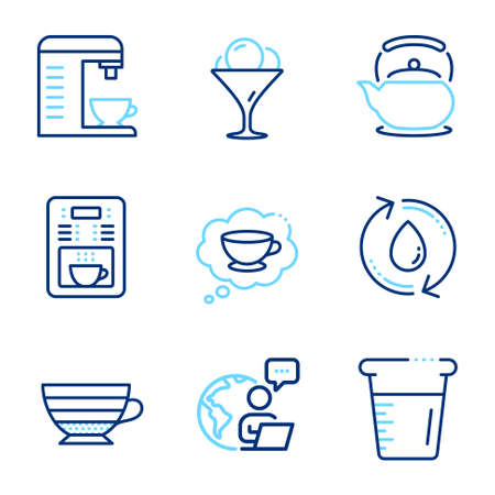 Food and drink icons set. Included icon as Cooking beaker, Cappuccino, Refill water signs. Ice cream, Coffee maker, Coffee cup symbols. Teapot line icons. Water, Recycle aqua. Line icons set. Vector Vetores