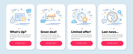Set of Education icons, such as Stock analysis, Approved documentation, Best result symbols. Mobile app mockup banners. Question mark line icons. Business trade, Instruction book, Timer award. Vector