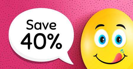 Save 40% off. Easter egg with yummy smile face. Sale Discount offer price sign. Special offer symbol. Easter smile character. Discount speech bubble. Yummy egg background. Vector