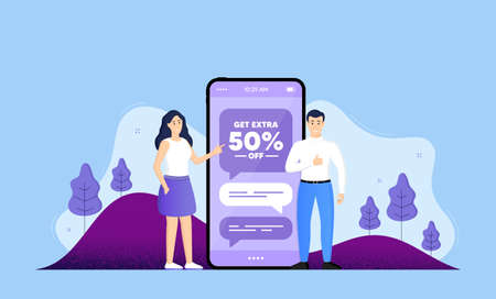 Get Extra 50% off Sale. Phone online chatting banner. Discount offer price sign. Special offer symbol. Save 50 percentages. Extra discount chat bubble. Mobile phone with characters of people. Vector