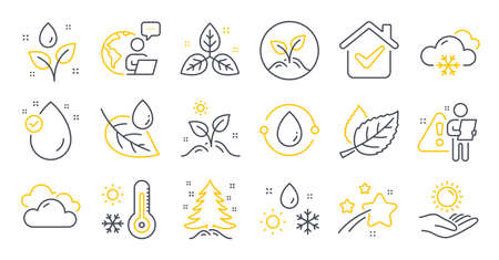 Set of Nature icons, such as Leaf dew, Weather thermometer, Sun protection symbols. Fair trade, Cloudy weather, Grow plant signs. Leaf, Vitamin e, Startup. Cold-pressed oil, Christmas tree. Vector