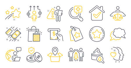 Set of Business icons, such as Loyalty star, Savings insurance, Package location symbols. Moisturizing cream, Shopping bags, Partnership signs. Loyalty tags, Heart, Atm service. Payment. Vector