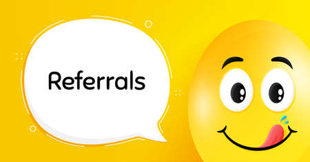 Referrals symbol. Easter egg with yummy smile face. Referral program sign. Advertising reference. Easter smile character. Referrals speech bubble. Yellow yummy egg background. Vector
