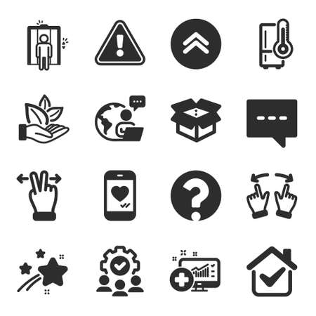 Set of Technology icons, such as Blog, Medical analytics, Move gesture symbols. Organic product, Swipe up, Touchscreen gesture signs. Elevator, Refrigerator, Teamwork. Open box, Love chat. Vector