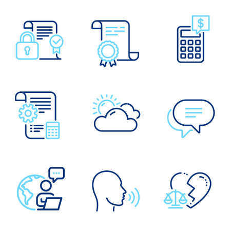 Business icons set. Included icon as Divorce lawyer, Sunny weather, Text message signs. Security contract, Calculator, Settings blueprint symbols. Certificate, Human sing line icons. Vector Illusztráció