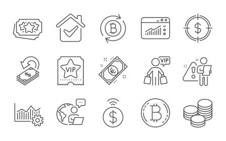 Tips, Contactless payment and Operational excellence line icons set. Refresh bitcoin, Bitcoin and Loyalty points signs. Vip shopping, Euro money and Web traffic symbols. Line icons set. Vector