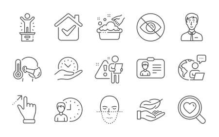 Hand washing, Safe time and Businessman person line icons set. Touchscreen gesture, Face recognition and Working hours signs. Winner podium, Not looking and Identification card symbols. Vector