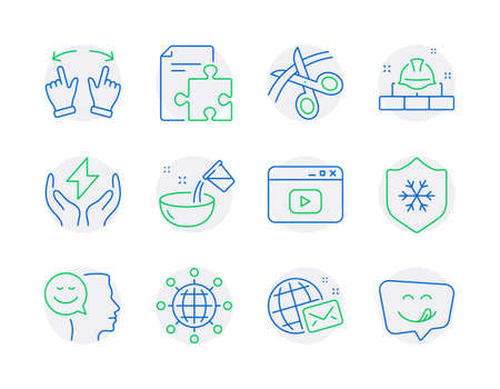 Line icons set. Included icon as Scissors, Strategy, Construction bricks signs. Video content, Safe energy, Clean skin symbols. International globe, Good mood, Move gesture. Cooking water. Vector