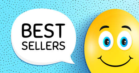 Best sellers. Easter egg with smile face. Special offer price sign. Advertising discounts symbol. Easter smile character. Best sellers speech bubble. Yellow egg background. Vector Illusztráció