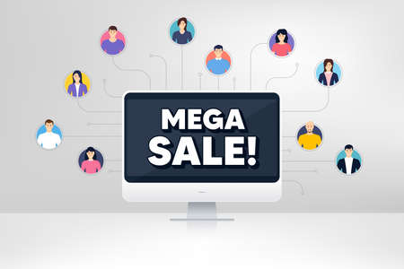 Mega Sale. Remote team work conference. Special offer price sign. Advertising Discounts symbol. Online remote learning. Virtual video conference. Mega sale message. Vector