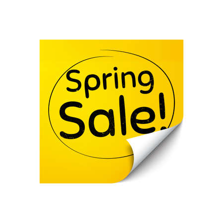 Spring Sale. Sticker note with offer message. Special offer price sign. Advertising Discounts symbol. Yellow sticker banner. Spring sale badge shape. Post note. Adhesive offer paper sheet. Vector  イラスト・ベクター素材