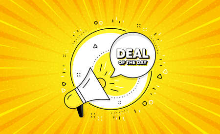 Deal of the day symbol. Yellow vector button with megaphone. Special offer price sign. Advertising discounts symbol. Day deal line icon. Abstract yellow background. Vector