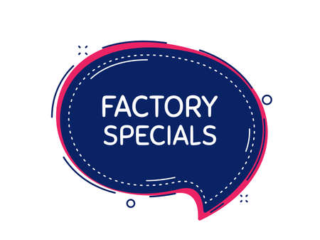 Factory specials. Thought bubble vector banner. Sale offer price sign. Advertising discounts symbol. Dialogue or thought speech balloon shape. Factory specials chat think speech bubble. Vector Illusztráció